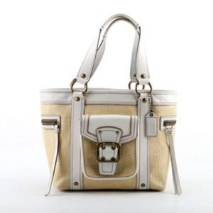 COACH Legacy Natural Woven Straw White Leather Bag